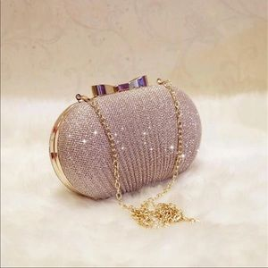 Gold evening bag NIP with two size chains